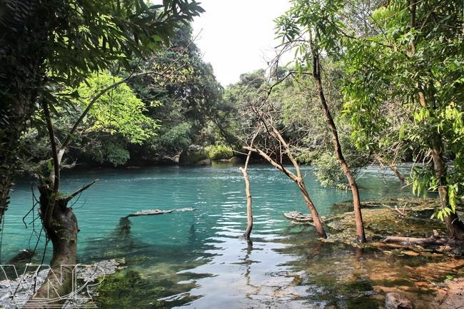 Le ruisseau Nuoc Mooc a une couleur bleue en raison des cours d'eau souterrains coulant à travers les montagnes calcaires