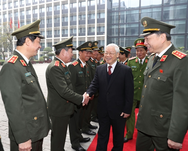 On January 15 Party General Secretary Nguyen Phu Trong attended the 73rd National Public Security Conference in Hanoi. Photo: Tri Dung/VNA