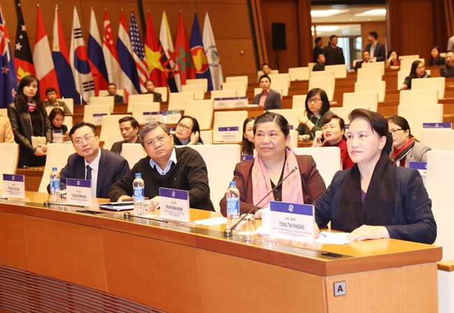 National Assembly Chairwoman Nguyen Thi Kim Ngan on January 16 checked the preparations for the 26th Annual Meeting of the Asia-Pacific Parliamentary Forum (APPF-26) which will be held in Hanoi from January 18-21.Photo: Trong Duc/VNA