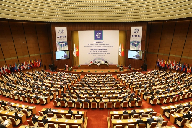 On January 18 The 26th Annual Meeting of the Asia-Pacific Parliamentary Forum opened in Hanoi. President Tran Dai Quang National Assembly Chairwoman Nguyen Thi Kim Ngan and leaders former leaders of the Party and State National Assembly deputies attended the opening ceremony. Photo: VNA