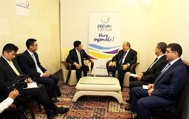 Deputy Prime Minister and Foreign Minister Pham Binh Minh on October 12 met with several other attendees on the sidelines of the 17th Francophonie Summit in Yerevan Armenia. In the photo: He has a meeting with President of Armenia Armen Sarkissian. Photo: Tam Hang/VNA