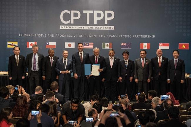 포괄적-점진적 환태평양경제동반자(CPTPP)체결식은 9일 오전 칠레 산티아고에서 미첼 바첼레트(Michelle Bachelet)칠레 대통령의 주재로 진행하였다. 호주 브루나이 캐나다 칠레 일본 말레이시아 멕시코 뉴질랜드 페루 싱가포르 베트남 등 11국가의 대표는 체결식에 참석하였다. 쩐뚜안아잉(Trần Tuấn Anh) 상공업부장관은 베트남의 대표로 참석하였다. 사진: THX/베트남통신스