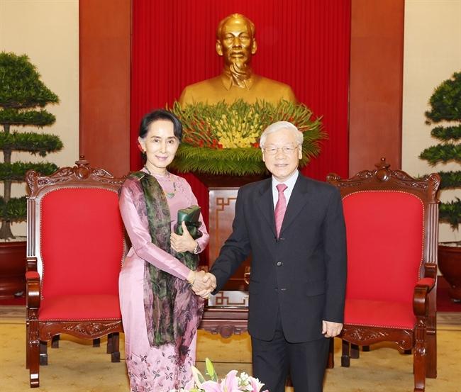 Chiều 20/4/2018 tại Trụ sở Trung ương Đảng Tổng Bí thư Nguyễn Phú Trọng tiếp Cố vấn Nhà nước Bộ trưởng Ngoại giao và Bộ trưởng Văn phòng Tổng thống nước Cộng hòa Liên bang Myanmar Aung San Suu Kyi thăm chính thức Việt Nam. Ảnh: Trí Dũng/TTXVN