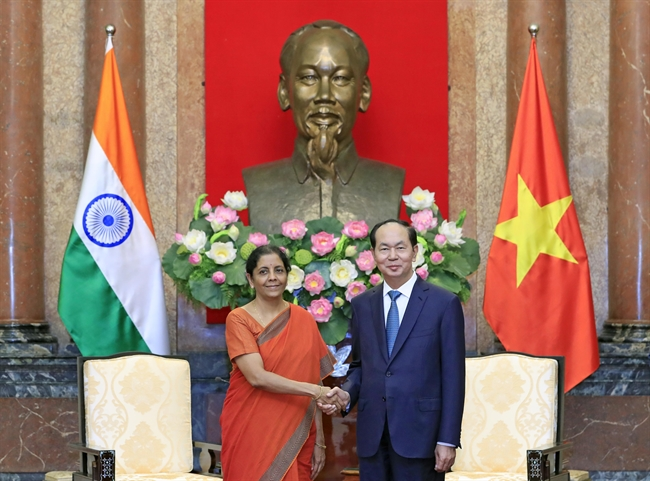 President Tran Dai Quang hosted a reception for Indian Defense Minister Nirmala Sitharaman during her official visit to Vietnam. Photo: Nhan Sang/VNA
