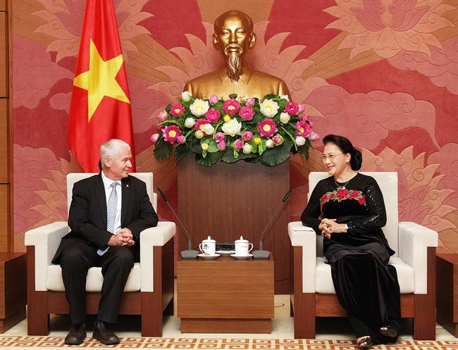 National Assembly Chairwoman Nguyen Thi Kim Ngan on September 17 had a reception in Hanoi for Hungarian Chief Prosecutor Peter Polt who is on a visit to Vietnam to expand cooperation with the countrys Supreme Peoples Procuracy. Photo: Nguyen Dan/VNA