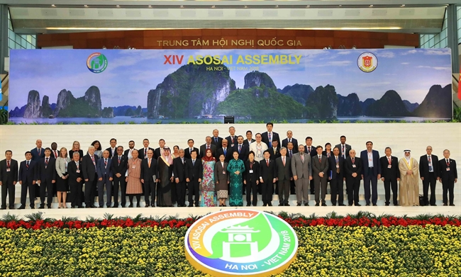 The opening ceremony of the 14th Assembly of the Asian Organization of Supreme Audit Institutions (ASOSAI) and the ceremony marking 40 years of ASOSAI Charter was held in Hanoi on September 19. National Assembly Chairwoman Nguyen Thi Kim Ngan attended the event. Photo: Thong Nhat/VNA