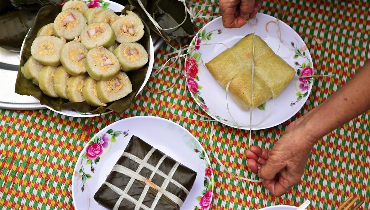 El pastel banh chung de Hung Lo