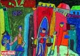 Exposition de peintures denfants à Hanoi