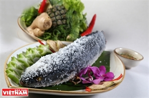 Scrumptious salt-crusted snakehead fish