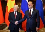 អគ្គលេខាបក្ស ប្រធានរដ្ឋវៀតណាមលោក Nguyen Phu Trong អញ្ជើញទទួលជួបជាមួយនាយករដ្ឋមន្រ្តីរុស្ស៊ីលោក Dmitry Medvedev