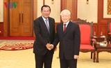 អគ្គលេខាបក្ស ប្រធានរដ្ឋវៀតណាម លោក Nguyen Phu Trong អញ្ជើញទទួលជួបសម្តេចតេជោហ៊ុនសែន នាយករដ្ឋមន្ត្រីនៃព្រះរាជាណាចក្រកម្ពុជា