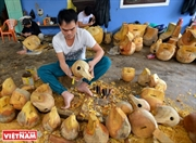 Un pueblo hace cuencos budistas de madera en Hue