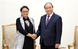 នាយករដ្ឋមន្ត្រីវៀតណាមលោក Nguyen Xuan Phuc ទទួលជួបសន្ទនាជាមួយរដ្ឋមន្ត្រីការបរទេសឥណ្ឌូនេស៊ី