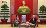 អគ្គលេខាបក្សលោក Nguyen Phu Trong អញ្ជើញទទួលជួបជាមួយទីប្រឹក្សារដ្ឋមីយ៉ាន់ម៉ា