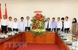 Chủ tịch Mặt trận Tổ quốc Việt Nam thăm chúc mừng TTXVN nhân dịp 21/6