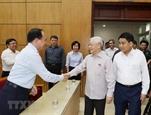 Le secrétaire général et président Nguyen Phu Trong à la rencontre des électeurs de Hanoï