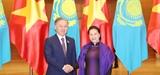 Chủ tịch Quốc hội Nguyễn Thị Kim Ngân đón hội đàm với Chủ tịch Hạ viện Cộng hòa Kazakhstan