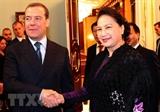 Entrevue entre la présidente de lAN vietnamienne et le Premier ministre russe