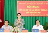 ប្រធានរដ្ឋសភាវៀតណាមលោកស្រី Nguyen Thi Kim Ngan អញ្ជើញជួបសំណេះសំណាលជាមួយអ្នកបោះឆ្នោតនៅស្រុក Phong Dien ទីក្រុង Can Tho