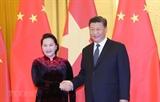La présidente de lAN vietnamiennne rencontre le leader chinois Xi Jinping