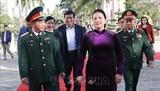 La présidente de lAN visite le commandement militaire de Dak Lak