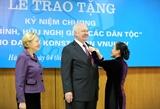 Trao Kỷ niệm chương Vì hòa bình hữu nghị giữa các dân tộc tặng Đại sứ Liên bang Nga tại Việt Nam