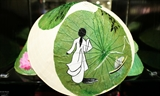 Paintings on lotus leaves
