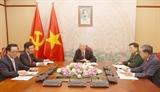 Tổng Bí thư Chủ tịch nước Nguyễn Phú Trọng điện đàm với Chủ tịch Đảng CPP Thủ tướng Campuchia Hun Sen
