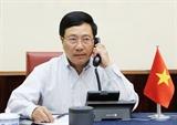 Phó Thủ tướng Bộ trưởng Ngoại giao Phạm Bình Minh điện đàm với Ngoại trưởng Hoa Kỳ Michael Pompeo