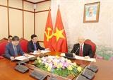 Tổng Bí thư Chủ tịch nước Nguyễn Phú Trọng điện đàm với Tổng Bí thư Chủ tịch nước Trung Quốc Tập Cận Bình