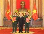 Tổng Bí thư Chủ tịch nước Nguyễn Phú Trọng trao Quyết định thăng quân hàm cho hai Thứ trưởng Bộ Quốc phòng