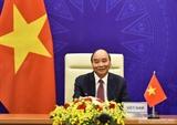 Le président Nguyen Xuan Phuc prononce un discours lors du Sommet sur le climat