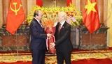 Lễ bàn giao công tác giữa nguyên Chủ tịch nước Nguyễn Phú Trọng và Chủ tịch nước Nguyễn Xuân Phúc