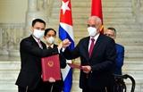 Bộ trưởng Ngoại giao Bùi Thanh Sơn gặp quyền Bộ trưởng Ngoại giao Cuba Marcelino Medina