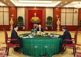 응웬푸쫑 당서기장 베트남-캄보디아-라오스 고위회의에 참여