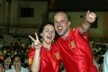 Spanish tourists are happy with their team's victory.