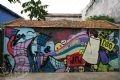Một đoạn tường vẽ phố Hàng Bồ.