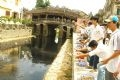 水が清潔になるように寺橋の下の川に「ボカシ」を投げ込む