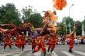 Performing the lion dance around Hoan Kiem Lake