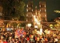 The Christmas atmosphere at Hanoi Cathedral.