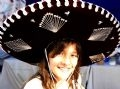 Rebekka Keus Quezada and Mexican traditional bonnet which was sold for charity.