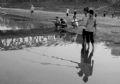 Jeunes gens pêchant à la ligne dans les flaques d'eau sur le lit du fleuve.