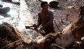 Lò Văn Vượng với một cây gỗ lớn vừa được đưa vào bờ.