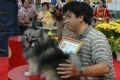 The pretty dog Lucky, a German Pomeranian, owned by Nguyen Van Luc, winning the first prize at the contest.