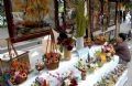 A stall displaying artworks made from dried flowers by artisan Nguyen Ba Muu.