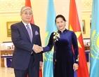 Dans le cadre de sa visite officielle au Kazakhstan le 17 octobre 2017 à Astan la présidente de lAssemblée nationale Nguyen Thi Kim Ngân a eu une rencontre avec le président du Sénat kazakh Kassym Zhomart Tokayev. Photo: Trong Duc/AVI