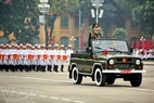 Lieutenant General Nguyen Van Thanh, Deputy Chief of the general staff of the Vietnam People's Army, Hero of the armed forces, leads the parade.