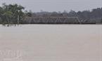 Lũ ngập đến nóc cột điện và ngập cả cầu đường sắt tại Hương Khê (chụp chiều 17-10 ). (An Đăng - TTXVN)