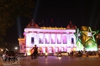 Hanoi Opera House is brilliant on Christmas Eve.