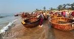 Los pescadores transportan mariscos desde sus barcos a la costa en cestas.